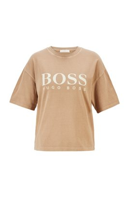 Logo relaxed-fit T-shirt in organic cotton, Light Brown