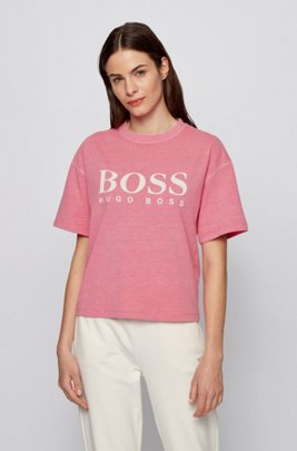 Logo relaxed-fit T-shirt in organic cotton, light pink