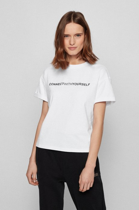 Relaxed-fit T-shirt in organic cotton with chest slogan, White