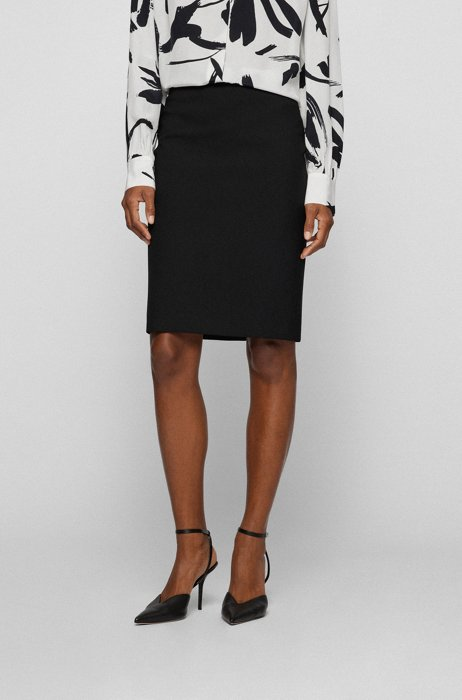 Regular-fit pencil skirt in stretch fabric, Black