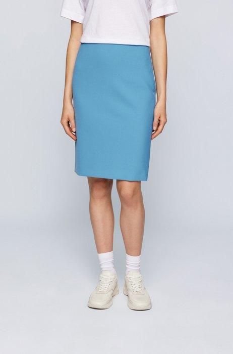 Regular-fit pencil skirt in stretch fabric, Blue