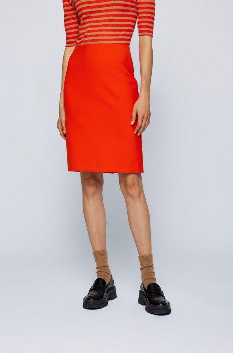 Regular-fit pencil skirt in stretch fabric, Orange