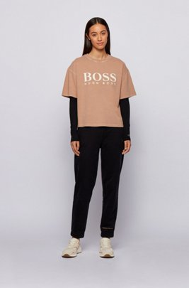 Long-sleeved slim-fit T-shirt with rear slogan, Black
