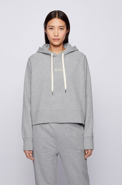 Oversized-fit hoodie in French terry with logo detailing, Silver