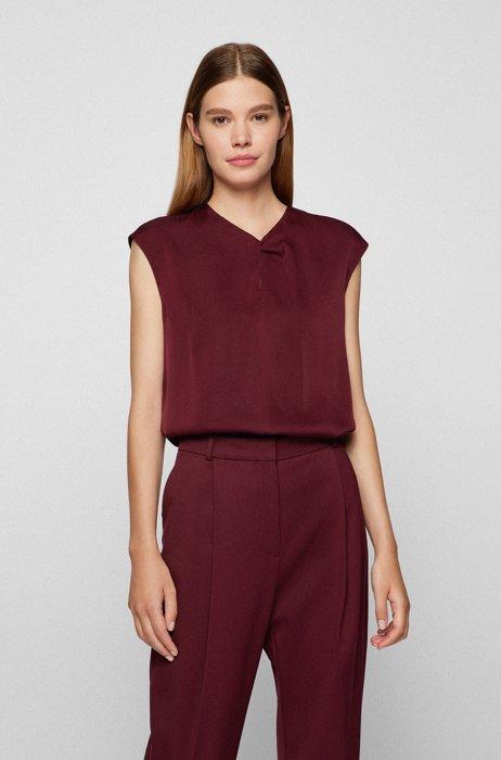 Stretch-silk crepe-de-chine top with feature neckline, Dark Red