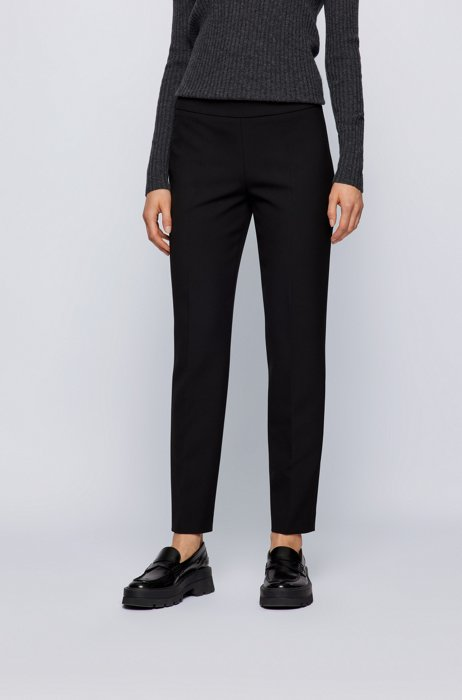 Regular-fit trousers in stretch fabric with cropped length, Black