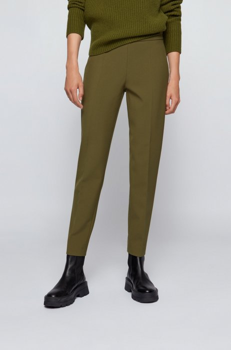 Regular-fit trousers in stretch fabric with cropped length, Dark Green