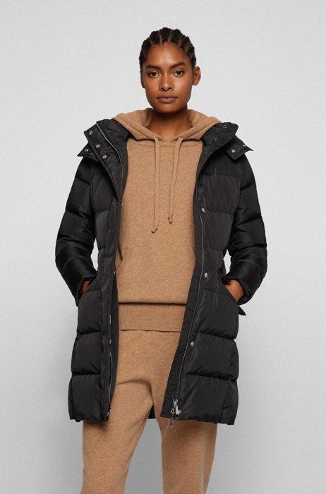 Slim-fit water-repellent down jacket with monogram buckle, Black