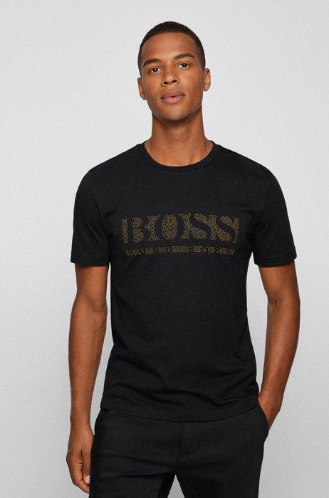 T-shirt en coton à imprimé logo pixelisé, Noir