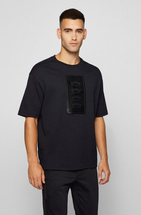 Oversized-fit cotton T-shirt with faux-leather logo patch, Black