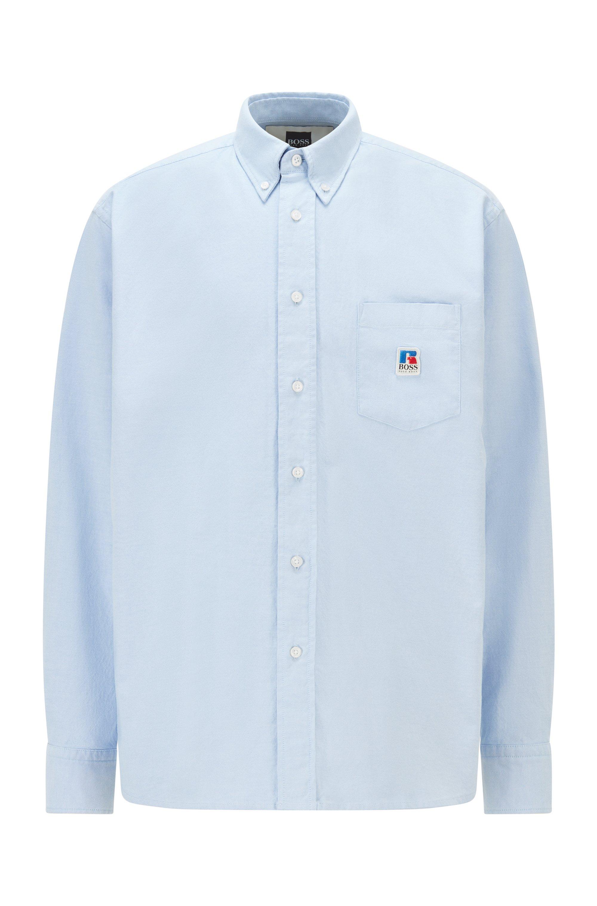 Camisa relaxed fit en algodón Oxford con logo exclusivo, Celeste