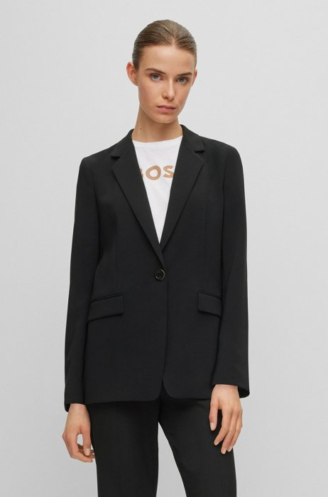 Relaxed-fit jacket in crease-resistant Japanese crepe, Black