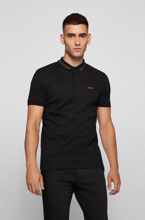 Cotton polo shirt with logo and pixel print, Black