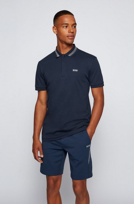 Cotton polo shirt with logo and pixel print, Dark Blue