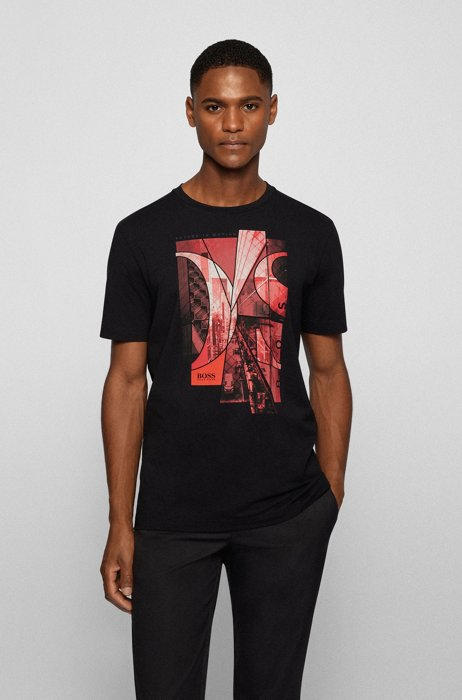Stretch-cotton T-shirt with photographic print and logo, Black