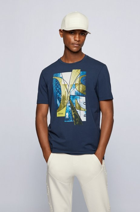 Stretch-cotton T-shirt with photographic print and logo, Dark Blue