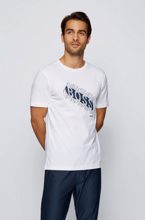 Cotton regular-fit T-shirt with multicolored logo, White