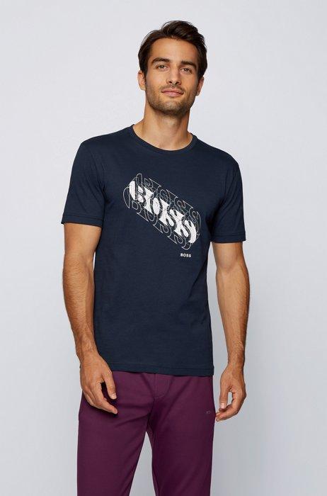 Cotton regular-fit T-shirt with multicoloured logo, Dark Blue