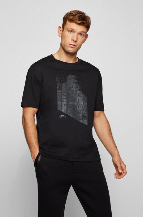 Cotton T-shirt in relaxed fit with 3D embroidery, Black