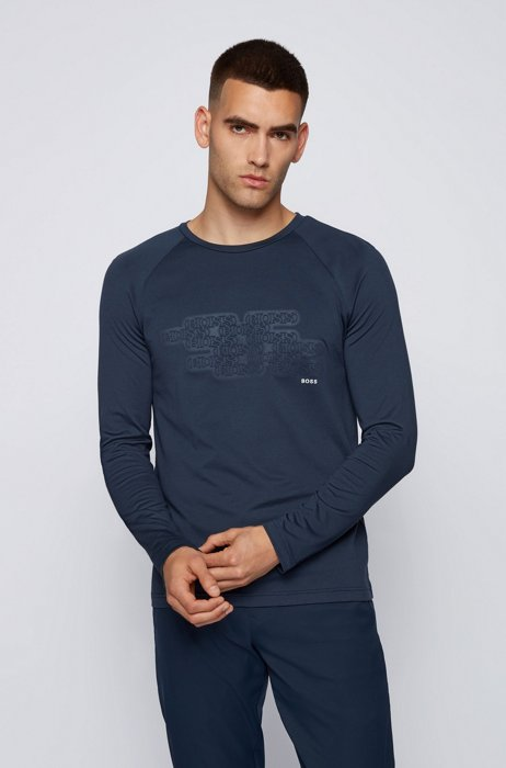 Plated-jersey logo T-shirt in a slim fit, Dark Blue