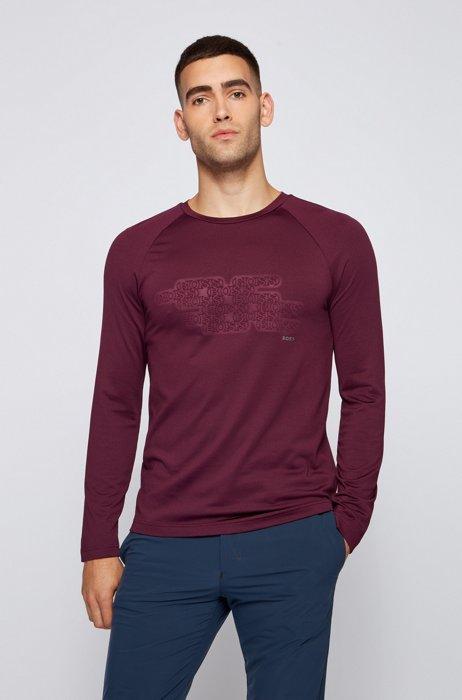 Slim-fit T-shirt van gecoate jersey met logo, Lila