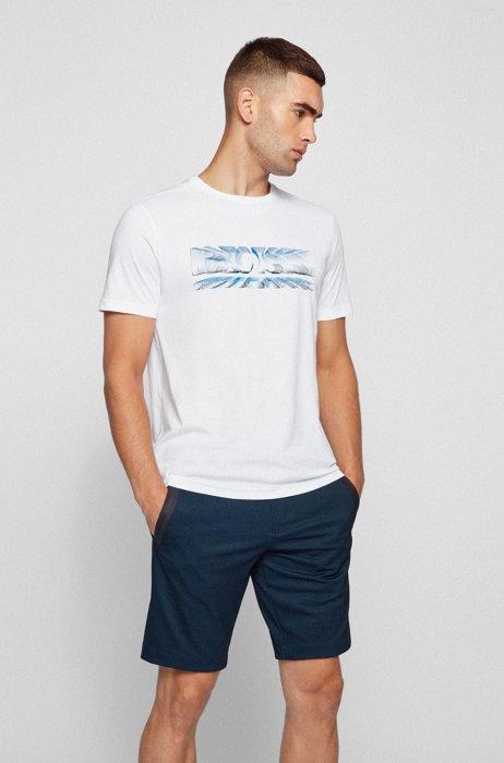 T-shirt Regular Fit à imprimé logo dynamique, Blanc