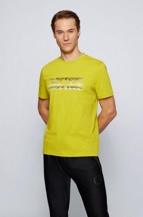 T-shirt Regular Fit à imprimé logo dynamique, Jaune
