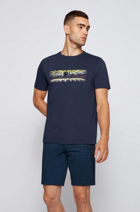 T-shirt Regular Fit à imprimé logo dynamique, Bleu foncé