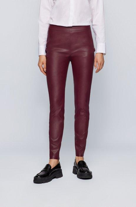 Skinny-fit leggings in faux leather, Dark Red