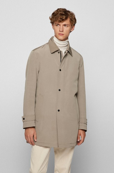 Water-repellent coat in recycled fabric, Light Brown