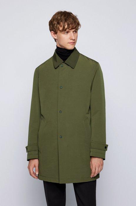 Water-repellent coat in recycled fabric, Dark Green
