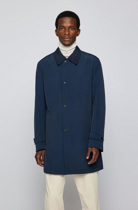 Water-repellent coat in recycled fabric, Dark Blue