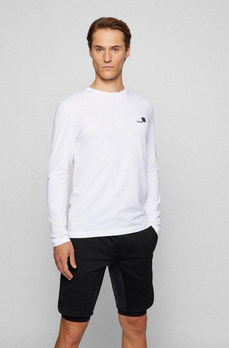 T-shirt van biologische katoen met stretch en logo-artwork, Wit