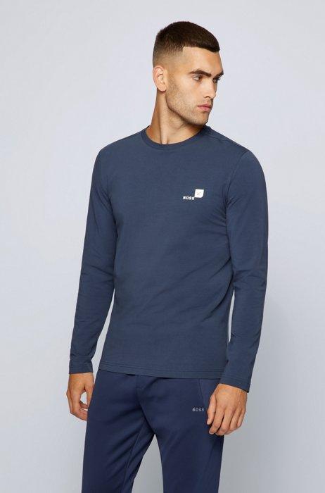 T-shirt van biologische katoen met stretch en logo-artwork, Donkerblauw