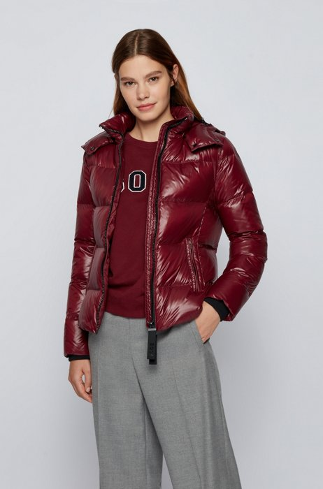 Slim-fit down jacket in water-repellent recycled fabric, Dark Red