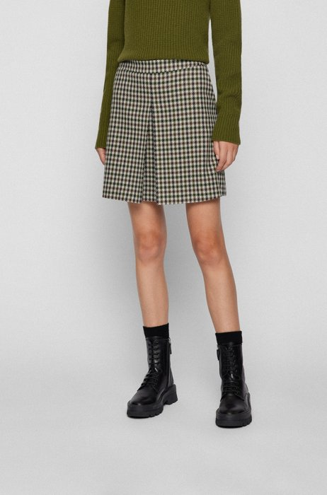 A-line short skirt in checked twill, Patterned