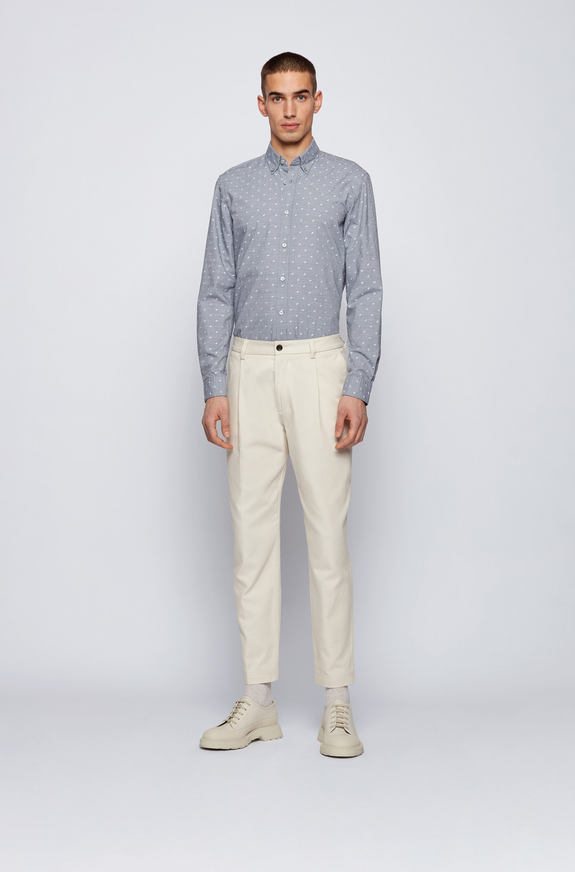 Button-down slim-fit shirt in washed cotton dobby