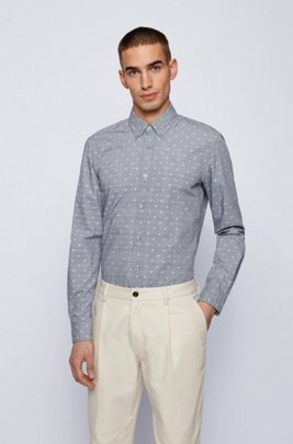 Button-down slim-fit shirt in washed cotton dobby, Blue Patterned