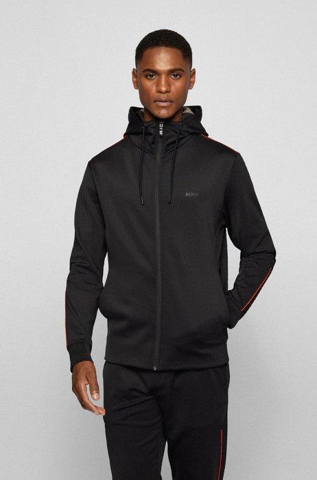 Sweat à capuche avec logo et passepoil coloré, Noir