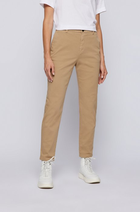 Regular-fit chinos in organic cotton with stretch, Beige
