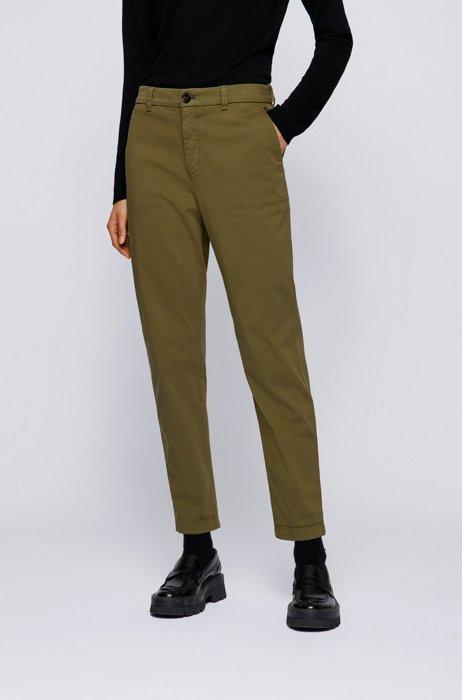 Regular-fit chinos in organic cotton with stretch, Dark Green