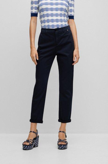 Regular-fit chinos in organic cotton with stretch, Dark Blue