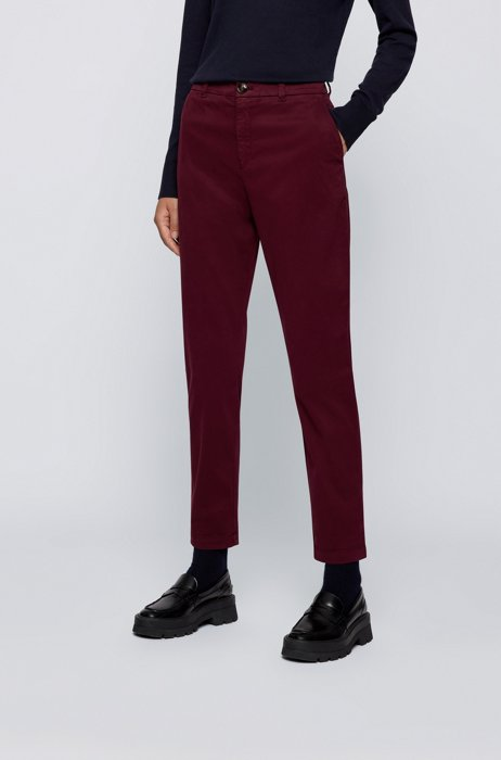 Regular-fit chinos in organic cotton with stretch, Dark Red