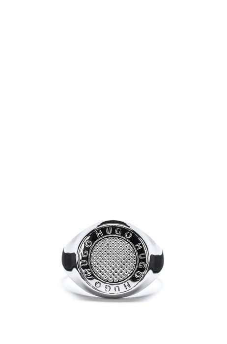 Round ring with engraved logos, Silver
