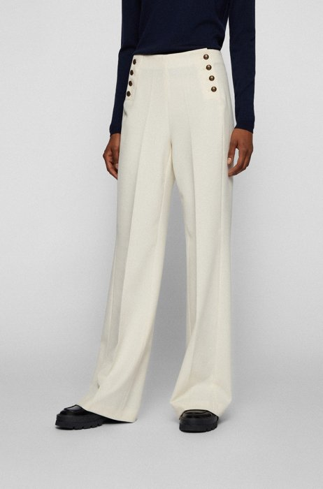 Wide-leg regular-fit trousers with gold-tone buttons, White