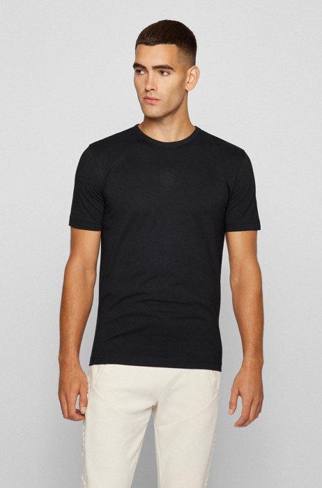 Slim-fit T-shirt van biologische katoen met cirkellogo's, Zwart