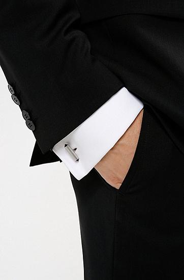 不锈钢材质刻印徽标立体袖扣,  040_Silver