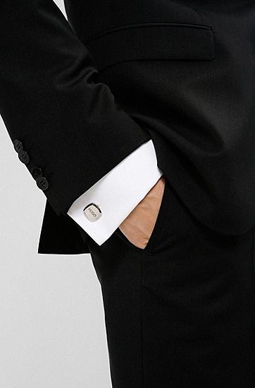 不锈钢刻印徽标袖扣,  042_Silver