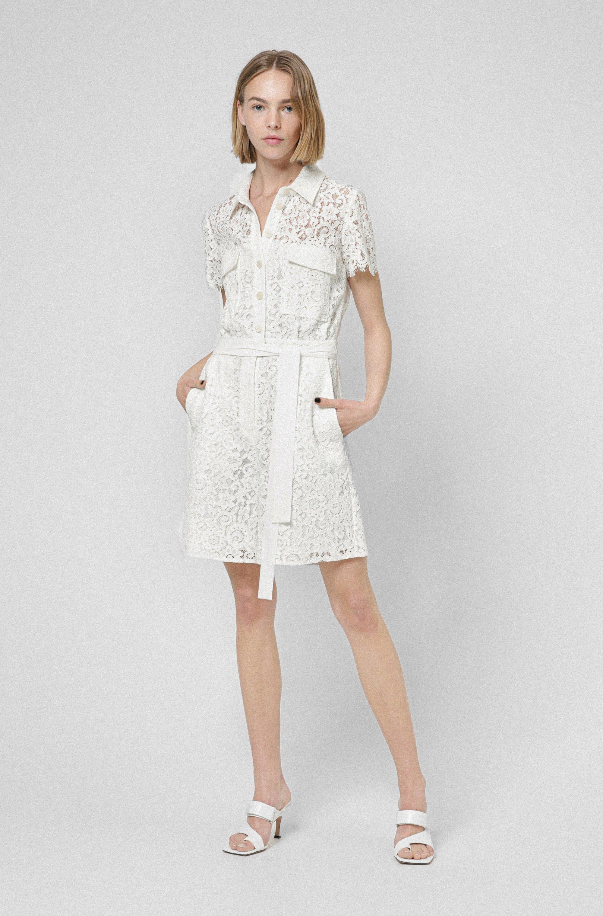 Shirt-style short jumpsuit in floral lace