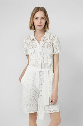 Shirt-style short jumpsuit in floral lace, White
